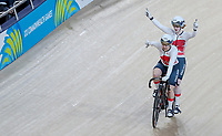 England's Sophie Thornhill and pilot Helen Scott win gold after beating Australia in the final. Track Cycling, Anna Meares Arena, Commonwealth Games, Gold Coast, Australia. Thursday 5 April, 2018. Copyright photo: John Cowpland / www.photosport.nz /SWPix.com