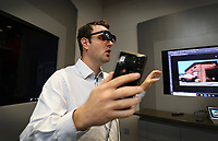 April 11 2019. San Diego, CA. USA|  Qualcomm's Staff Engineer Guilherme Brighenti talks about augmented reality glasses called nreal. | Photos by Jamie Scott Lytle. Copyright.
