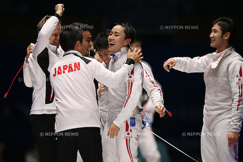 Japan team group,<br /> SEPTEMBER 25, 2014 - Fencing : <br /> Men's Team Foil Final <br /> at Goyang Gymnasium <br /> during the 2014 Incheon Asian Games in Incheon, South Korea. <br /> (Photo by Shingo Ito/AFLO SPORT)