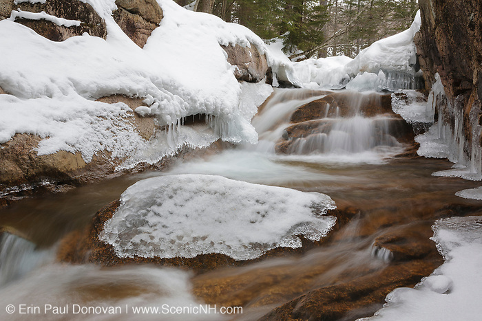 """Franconia Notch State Park - The Baby Flume, which is located just below """"The Basin"""" viewing area along the Pemigewasset River in Lincoln, New Hampshire USA."""