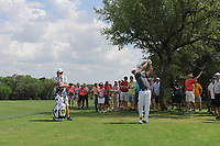 Zach Johnson (USA) hits his approach shot on 9 during round 1 of the Valero Texas Open, AT&amp;T Oaks Course, TPC San Antonio, San Antonio, Texas, USA. 4/20/2017.<br /> Picture: Golffile | Ken Murray<br /> <br /> <br /> All photo usage must carry mandatory copyright credit (&copy; Golffile | Ken Murray)