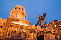 Statue of Prince Eugene of Savoy in front of Buda Royal Palace, Budapest, Hungary