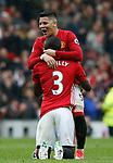 Eric Bailly of Manchester United hugs Marcos Rojo of Manchester United during the English Premier League match at Old Trafford Stadium, Manchester. Picture date: April 16th 2017. Pic credit should read: Simon Bellis/Sportimage