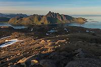 View towards Skottind from summit of Hestræva mountain peak, Flakstadøy, Lofoten Islands, Norway