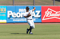 Peoria Javelinas left fielder Trent Grisham (2), of the Milwaukee Brewers organization, throws to the infield during an Arizona Fall League game against the Scottsdale Scorpions at Peoria Sports Complex on October 18, 2018 in Peoria, Arizona. Scottsdale defeated Peoria 8-0. (Zachary Lucy/Four Seam Images)