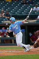 Zack Gahagan (10) of the North Carolina Tar Heels follows through on his swing against the Florida State Seminoles in the 2017 ACC Baseball Championship Game at Louisville Slugger Field on May 28, 2017 in Louisville, Kentucky. The Seminoles defeated the Tar Heels 7-3. (Brian Westerholt/Four Seam Images)