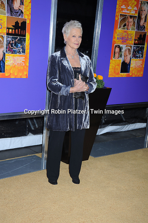 """Dame Judi Dench attends the New York Premiere of """" The Best Exotic Marigold Hotel"""" on April 23, 2012 at The Ziegfeld Theatre in New York City. Dame Judi Dench, Tom Wilkinson and Tena Desae are the stars of the movie."""