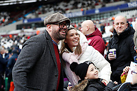 29th February 2020; London Stadium, London, England; English Premier League Football, West Ham United versus Southampton; West Ham United fan and Comedian Tom Davis posing with West Ham United fans inside the London Stadium before kick off