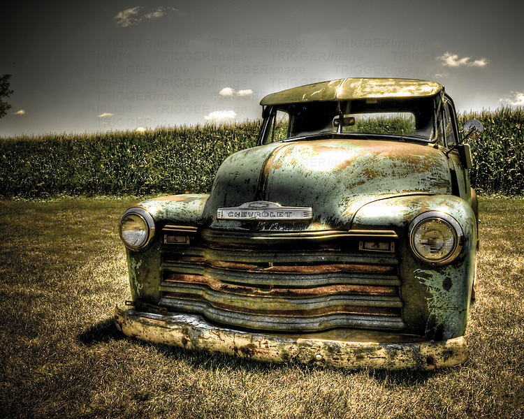 Vintage Chevy truck planted in the ground