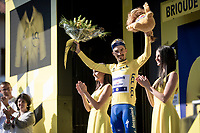 yellow jersey / GC leader celebrated on the podium<br /> <br /> Stage 9: Saint-Étienne to Brioude(170km)<br /> 106th Tour de France 2019 (2.UWT)<br /> <br /> ©kramon