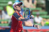 11th January 2018,  Kooyong Lawn Tennis Club, Kooyong, Melbourne, Australia; Priceline Pharmacy Kooyong Classic tennis tournament; Matt Ebden of Australia plays a forehand against Richard Gasquet of France