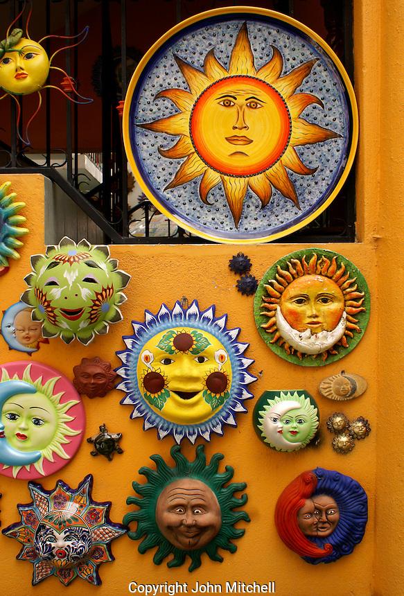 Mexican ceramic sols or suns in San Miguel de Allende, Mexico