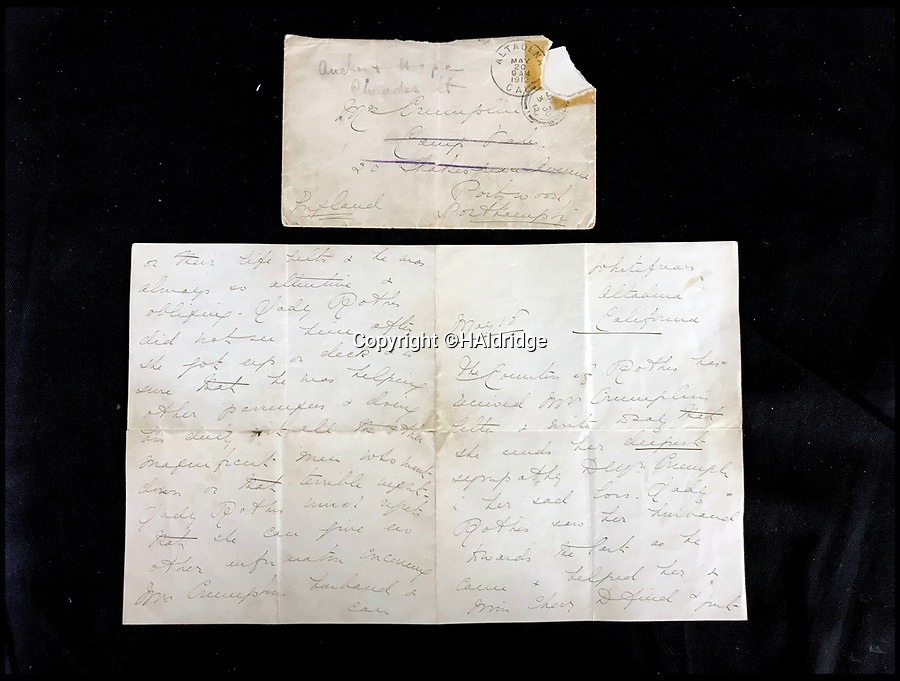 BNPS.co.uk (01202 558833)<br /> Pic: HAldridge/BNPS<br /> <br /> A poignant final letter home from a steward on the Titanic telling his wife to 'kiss the children for me' before he died in the disaster has come to light.<br /> <br /> The moving note from Charles Crumplin is being sold for £20,000 along with a second letter sent by a survivor to his widow, telling her what a hero her husband had been.<br /> <br /> After making sure the Countess of Rothes, one of Titanic's wealthiest passengers, was safely in a lifeboat along with her cousin and maid, Charles went back to help other women and children.<br /> <br /> Mr Crumplin, a first class cabin steward, went down with the ship and his body was never found.