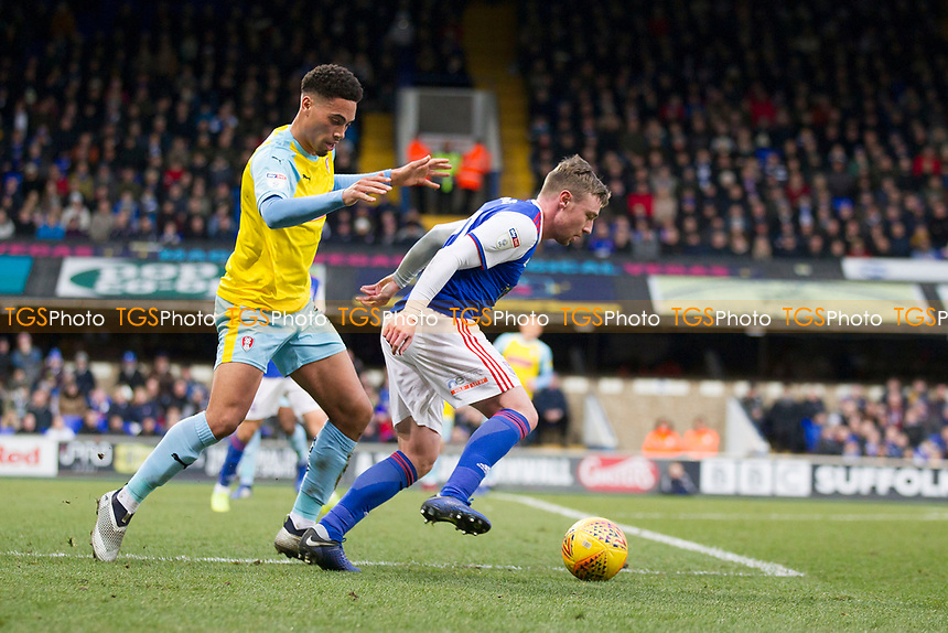Freddie Sears of Ipswich Town tries to cut inside Zak Vyner of Rotherham United during Ipswich Town vs Rotherham United, Sky Bet EFL Championship Football at Portman Road on 12th January 2019