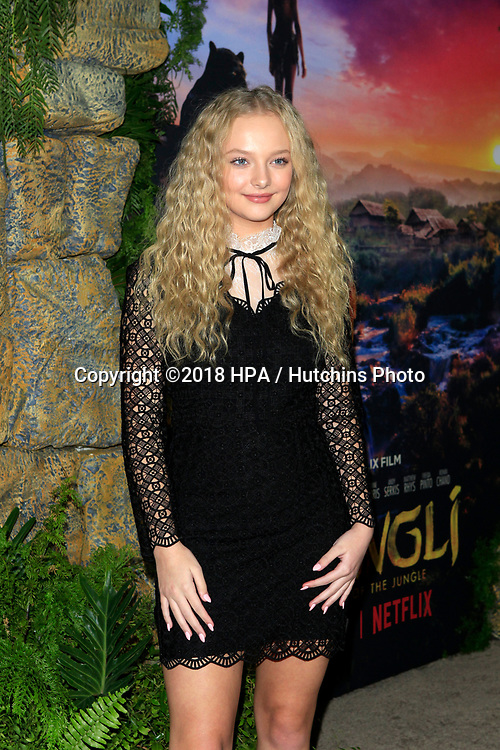 "LOS ANGELES - NOV 28:  Amiah Miller at the ""Mowgli: Legend of the Jungle"" Premiere at the ArcLight Theater on November 28, 2018 in Los Angeles, CA"
