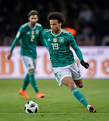 27th March 2018, Olympiastadion, Berlin, Germany; International Football Friendly, Germany versus Brazil; Leroy Sane (Germany) on the  Ball