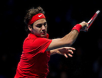 Roger Federer (SUI) (2) against Rafael Nadal (ESP) (1) in the final. Roger Federer beat Rafael Nadal 6-3 3-6 6-1..International Tennis - Barclays ATP World Tour Finals - O2 Arena - London - Day 8 - Sun 28 Nov 2010..© Frey - AMN Images, Level 1, Barry House, 20-22 Worple Road, London, SW19 4DH.Tel - +44 208 947 0100.Email - Mfrey@advantagemedianet.com.Web - www.amnimages.photshelter.com