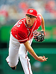 6 June 2010: Washington Nationals' pitcher Tyler Clippard on the mound in relief against the Cincinnati Reds at Nationals Park in Washington, DC. The Reds edged out the Nationals 5-4 in a ten inning game. Mandatory Credit: Ed Wolfstein Photo
