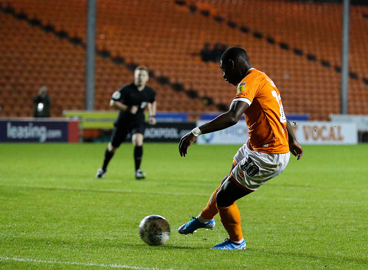 Blackpool's Sullay Kaikai scores his side's fourth goal <br /> <br /> Photographer Alex Dodd/CameraSport<br /> <br /> EFL Leasing.com Trophy - Northern Section - Group G - Blackpool v Morecambe - Tuesday 3rd September 2019 - Bloomfield Road - Blackpool<br />  <br /> World Copyright © 2018 CameraSport. All rights reserved. 43 Linden Ave. Countesthorpe. Leicester. England. LE8 5PG - Tel: +44 (0) 116 277 4147 - admin@camerasport.com - www.camerasport.com