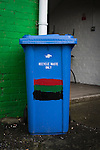 Glentoran 2 Cliftonville 1, 22/10/2016. The Oval, NIFL Premiership. A refuse bin painted in club colours at The Oval, Belfast, pictured before Glentoran hosted city-rivals Cliftonville in an NIFL Premiership match. Glentoran, formed in 1892, have been based at The Oval since their formation and are historically one of Northern Ireland's 'big two' football clubs. They had an unprecendentally bad start to the 2016-17 league campaign, but came from behind to win this fixture 2-1, watched by a crowd of 1872. Photo by Colin McPherson.