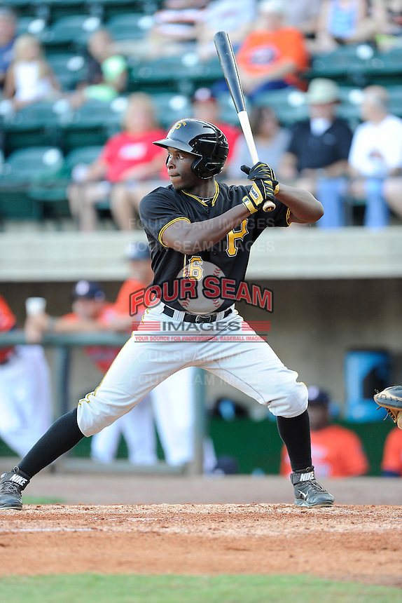 Left fielder Candon Myles (16) of the Bristol Pirates bats in a game against the Greeneville Astros on Friday, July 25, 2014, at Pioneer Park in Greeneville, Tennessee. Greeneville won, 9-4. (Tom Priddy/Four Seam Images)