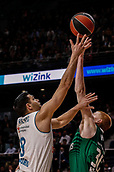 22nd March 2018, Wizink Centre, Madrid, Spain; Turkish Airlines Euroleague Basketball, Real Madrid versus Zalgiris Kaunas; Felipe Reyes (Real Madrid Baloncesto) tries to layuo but is blocked
