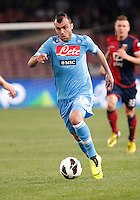 Naples's Goran Pandev controls the ball during Italian Serie A soccer match against Genoa at the San Paolo  stadium in Naples April 7, 2013