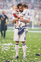 Real Madrid Nacho Fernandez and his kids during the celebration of the 12th UEFA Championship won by Real Madrid  at Santiago Bernabeu Stadium in Madrid, June 04, 2017. Spain.<br /> Foto ALTERPHOTOS/BorjaB.Hojas/Insidefoto
