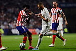Thomas Teye of Atletico de Madrid and Karim Benzema of Real Madrid during La Liga match between Atletico de Madrid and Real Madrid at Wanda Metropolitano Stadium in Madrid, Spain. September 28, 2019. (ALTERPHOTOS/A. Perez Meca)