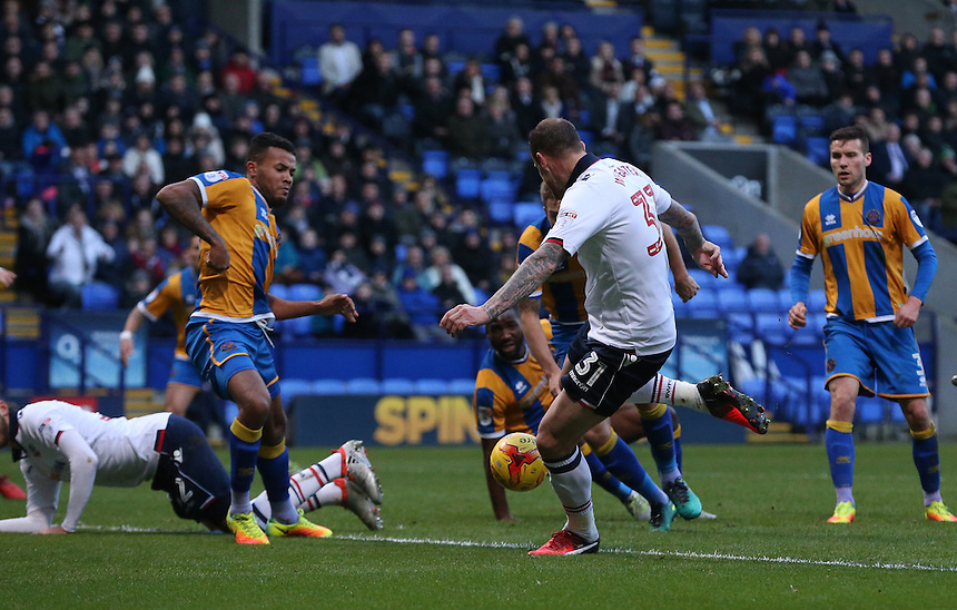Bolton Wanderers' David Wheater scores his sides second goal <br /> <br /> Photographer Stephen White/CameraSport<br /> <br /> The EFL Sky Bet League One - Bolton Wanderers v Shrewsbury Town - Monday 26th December 2016 - Macron Stadium - Bolton<br /> <br /> World Copyright &copy; 2016 CameraSport. All rights reserved. 43 Linden Ave. Countesthorpe. Leicester. England. LE8 5PG - Tel: +44 (0) 116 277 4147 - admin@camerasport.com - www.camerasport.com