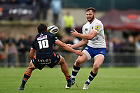 Max Wright of Bath Rugby passes the ball. Pre-season friendly match, between Edinburgh Rugby and Bath Rugby on August 17, 2018 at Meggetland Sports Complex in Edinburgh, Scotland. Photo by: Patrick Khachfe / Onside Images