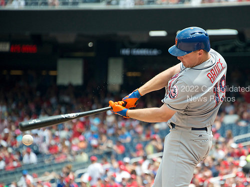 New York Mets right fielder Jay Bruce (19) strikes out swinging for the first out in the seventh inning against the Washington Nationals at Nationals Park in Washington, D.C. on Tuesday, July 4, 2017.  The Nationals won the game 11 - 4.<br /> Credit: Ron Sachs / CNP<br /> (RESTRICTION: NO New York or New Jersey Newspapers or newspapers within a 75 mile radius of New York City)