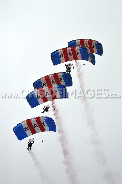 A general view of the RAF Falcons Parachute Display team. Aviva Premiership match, between Bath Rugby and Leicester Tigers on September 20, 2014 at the Recreation Ground in Bath, England. Photo by: Patrick Khachfe / Onside Images