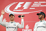 (L-R)  Nico Rosberg (GER),  Lewis Hamilton (GBR), <br /> OCTOBER 9, 2016 - F1 : Japanese Formula One Grand Prix Victory ceremony <br /> at Suzuka Circuit in Suzuka, Japan. (Photo by Sho Tamura/AFLO) GERMANY OUT