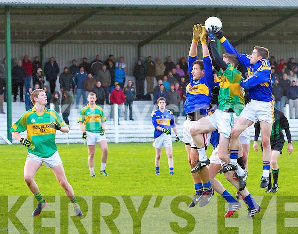 St. Senan's in Blue vs Knocknagoshel in Green.  Saturday in O'Sullivan's Park, Finuge.