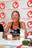 Chrissie Wellington speaks at the press conference after winning the Challenge Roth Ironman Triathlon, Roth, Germany, 10 July 2011