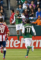 CARSON, CA – June 3, 2011: Portland Timbers defender Jeremy Hall (17) goes high to head a ball during the match between Chivas USA and Portland Timbers at the Home Depot Center in Carson, California. Final score Chivas USA 1, Portland Timbers 0.