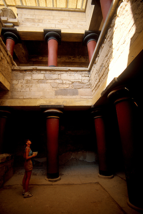 Knossos, Crete, Greece, Europe, archeology, King Minos's Royal Apartments circa 1600BC that has been partly restored..