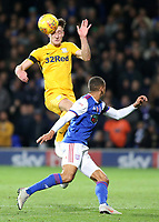 Preston North End's Josh Earl heads away from Ipswich Town's Jordan Spence<br /> <br /> Photographer David Shipman/CameraSport<br /> <br /> The EFL Sky Bet Championship - Ipswich Town v Preston North End - Saturday 3rd November 2018 - Portman Road - Ipswich<br /> <br /> World Copyright &copy; 2018 CameraSport. All rights reserved. 43 Linden Ave. Countesthorpe. Leicester. England. LE8 5PG - Tel: +44 (0) 116 277 4147 - admin@camerasport.com - www.camerasport.com