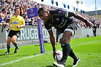 Semesa Rokoduguni of Bath Rugby scores his first try of the match. European Rugby Challenge Cup Quarter Final, between Bath Rugby and CA Brive on April 1, 2017 at the Recreation Ground in Bath, England. Photo by: Patrick Khachfe / Onside Images