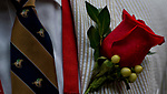 LOUISVILLE, KY - MAY 05: A man wears a rose and tie designed with horses on Kentucky Derby Day at Churchill Downs on May 5, 2018 in Louisville, Kentucky. (Photo by Scott Serio/Eclipse Sportswire/Getty Images)