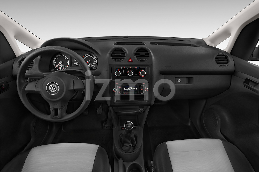 Stock photo of straight dashboard view of a 2014 Volkswagen CADDY 1.6 TDI 4 Door Car Van Dashboard