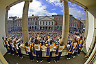 Sep. 1, 2012; Trumpets from the Notre Dame Marching Band play the Alma Mater at the end of the Mass of Thanksgiving at Dublin Castle...Photo by Matt Cashore/University of Notre Dame
