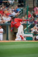 Pawtucket Red Sox Rusney Castillo (38) at bat during an International League game against the Rochester Red Wings on June 28, 2019 at Frontier Field in Rochester, New York.  Pawtucket defeated Rochester 8-5.  (Mike Janes/Four Seam Images)