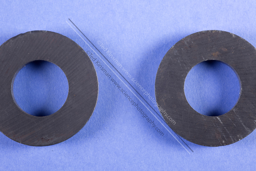 A ring magnet is used to test magnetic fields. This image is part of a series.