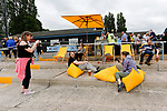 Fans enjoying the outdoor bar area. Yorkshire v Parishes of Jersey, CONIFA Heritage Cup, Ingfield Stadium, Ossett. Yorkshire's first competitive game. The Yorkshire International Football Association was formed in 2017 and accepted by CONIFA in 2018. Their first competative fixture saw them host Parishes of Jersey in the Heritage Cup at Ingfield stadium in Ossett. Yorkshire won 1-0 with a 93 minute goal in front of 521 people.