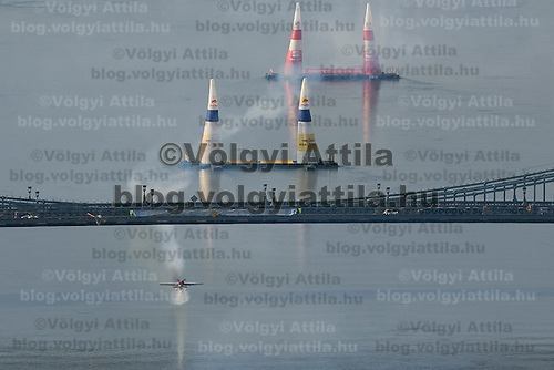 0708185542a Red Bull Air Race international air show practice runs over the river Danube, Budapest preceding the anniversary of Hungarian state foundation. Hungary. Saturday, 18. August 2007. ATTILA VOLGYI