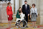 (L-R) Spanish Royals Princess Elena, Princess Letizia, Prince Felipe and Queen Sofia with Spanish Paralympic swimmer Teresa Perales Fernandez during the International Olympic Committee Evaluation Commission Team for a dinner at the Royal Palace.March 20,2013. (ALTERPHOTOS/Pool)