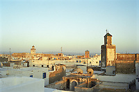 The Essouira skyline inside the Medina Walls as seen from the vantage point of The Hotel Cap Sim, Morocco