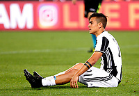 Calcio, Serie A: Roma vs Juventus. Roma, stadio Olimpico, 14 maggio 2017. <br /> Juventus' Paulo Dybala reacts during the Italian Serie A football match between Roma and Juventus at Rome's Olympic stadium, 14 May 2017. Roma won 3-1.<br /> UPDATE IMAGES PRESS/Riccardo De Luca